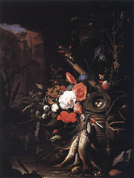 Still-Life with Fishes and Bird Nest, 1670 Mignon, Abraham Painting Reproductions