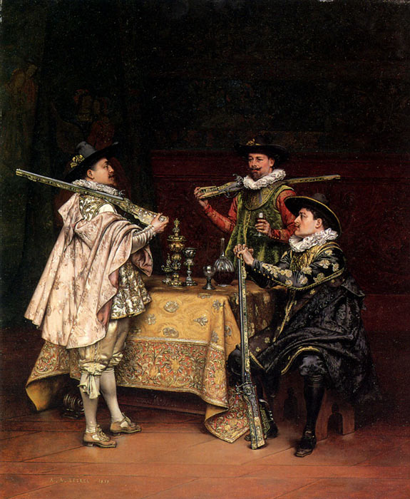 Discussing The Day's Shoot, 1899  Painting Reproductions