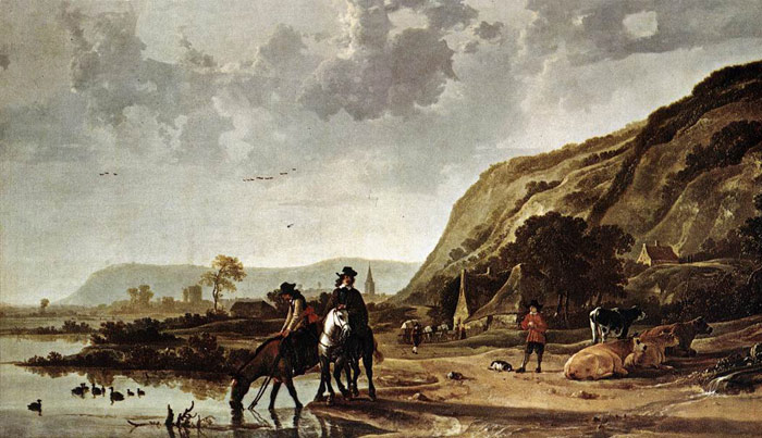 Large River Landscape with Horsemen  Painting Reproductions