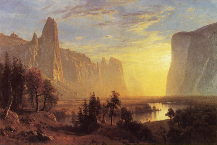 Yosemite Valley, Yellowstone Park aka Looking Down the Yosemite Valley , 1868  Painting Reproductions