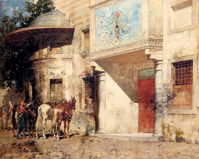 Outside The Mosque  Painting Reproductions