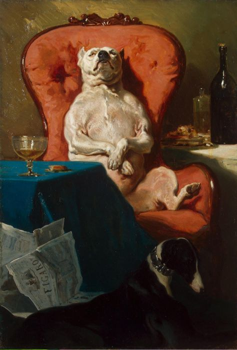 Pug Dog in an Armchair, 1857  Painting Reproductions