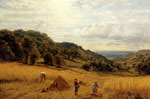 Glendening, Alfred Harvesting At Luccombe, Isle Of Wight, 1870 Art Reproductions