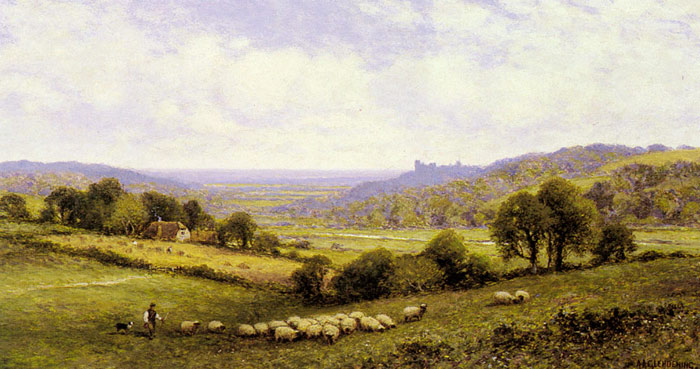 Near Amberley, Sussex, with Arundel Castle in the Distance  Painting Reproductions