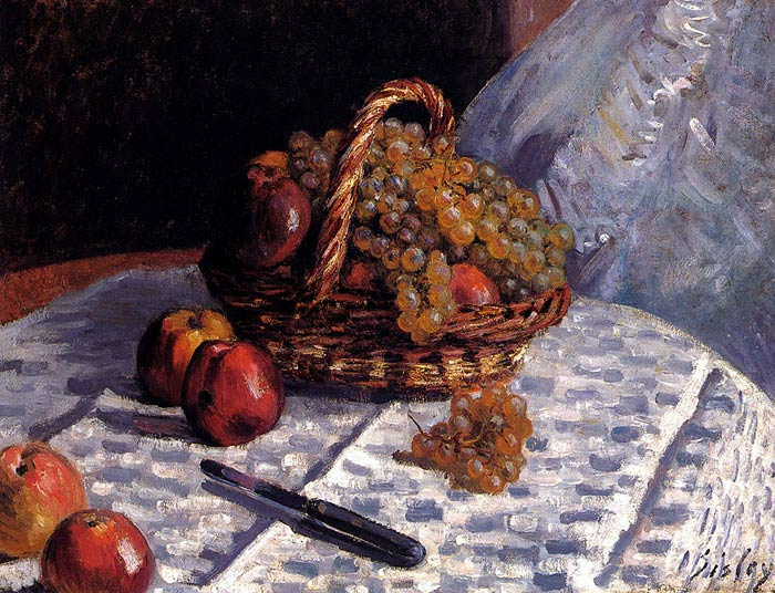 Still Life: Apples And Grapes, 1876 Sisley, Alfred Painting Reproductions