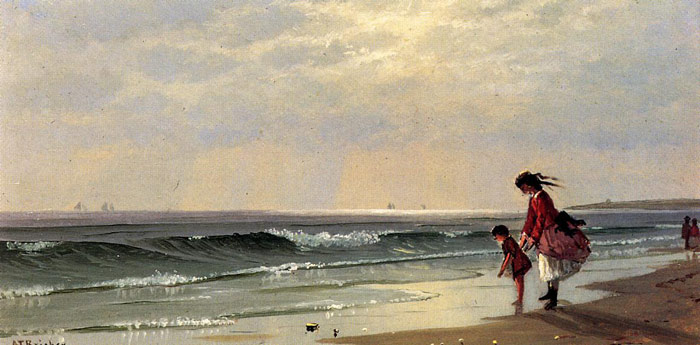 At the Shore, 1871 Bricher, Alfred Thompson Painting Reproductions