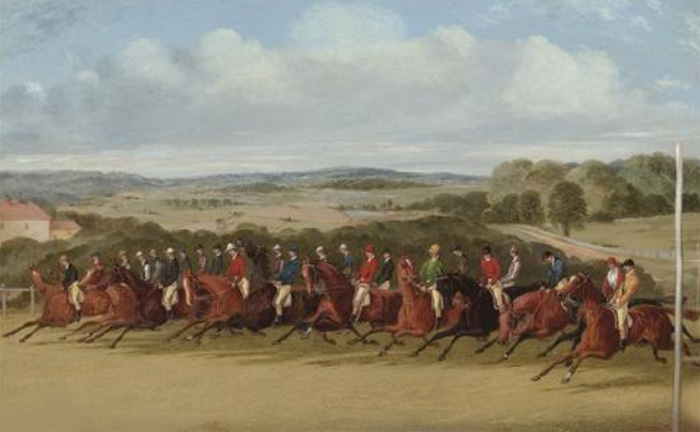 The finish of the 1858 Epsom Derby  Painting Reproductions