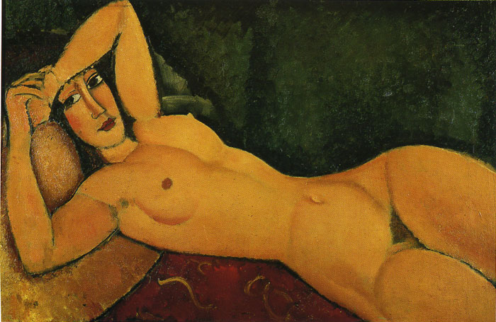Reclining Nude with Left Arm Resting on Her Forehead, 1917  Painting Reproductions