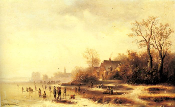 Skaters and Washerwomen in a Frozen Landscape  Painting Reproductions