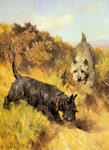8828 Two Scotties in a Landscape Art Reproductions