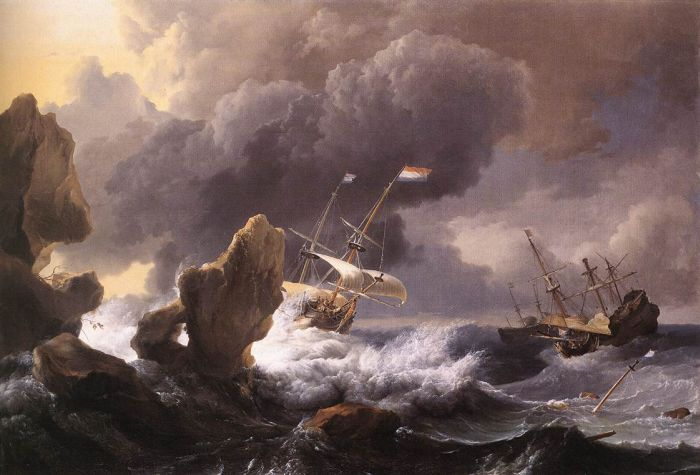 Ships in Distress off a Rocky Coast, 1667  Painting Reproductions