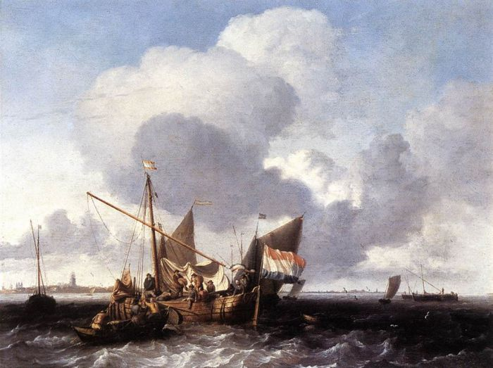 Ships on the Zuiderzee before the Fort of Naarden, 1680  Painting Reproductions
