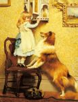 Barber, Charles Burton A Little Girl and her Sheltie, 1892 Art Reproductions