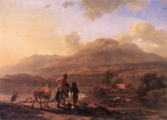 Italian Landscape at Sunset, 1671  Painting Reproductions