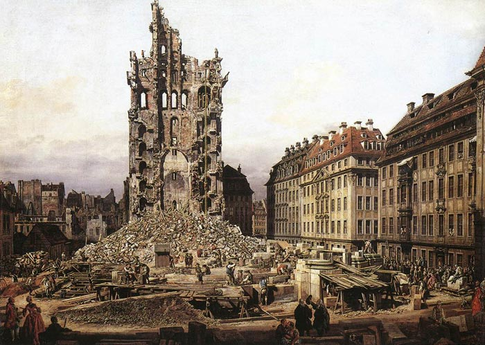 The Ruins of the Old Kreuzkirche in Dresden, 1765  Painting Reproductions