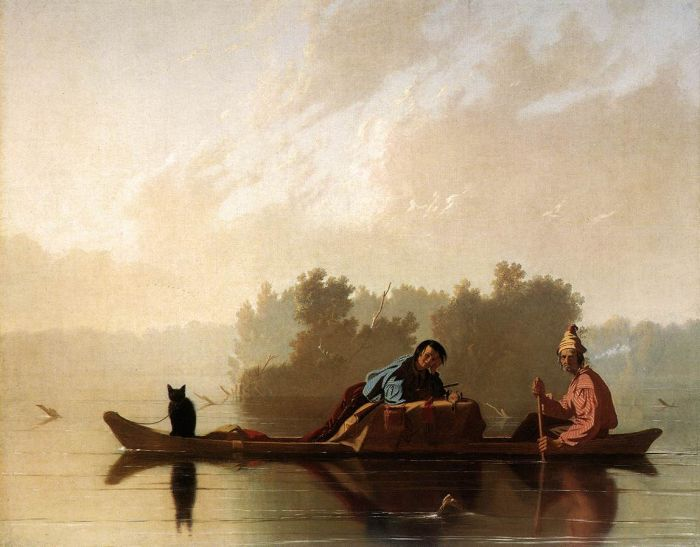 Fur Traders Descending the Missouri, 1845  Painting Reproductions