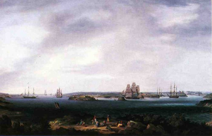 American Warships Anchored at Port Mahon, Spain  Painting Reproductions