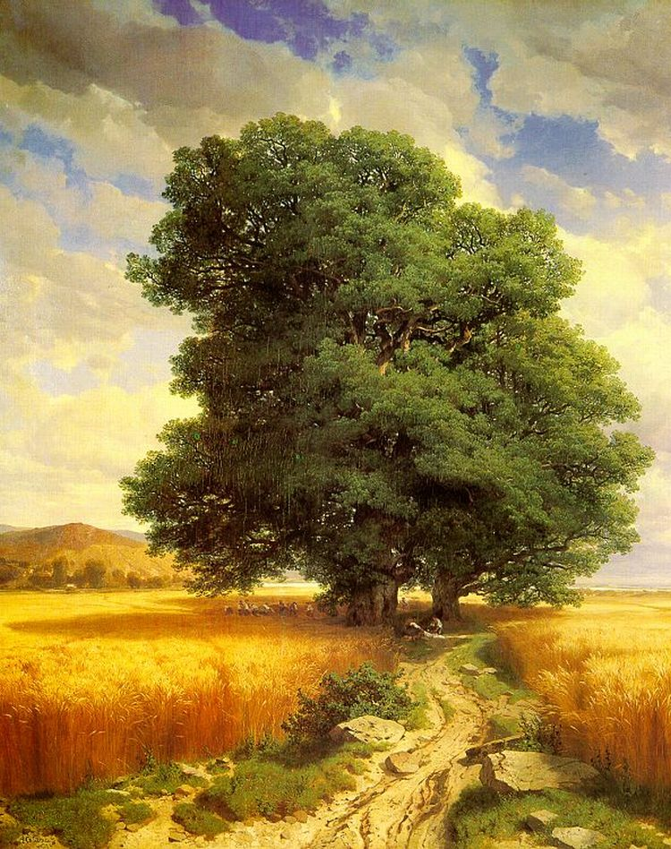 Landscape with Oak Trees Calame, Alexandre Painting Reproductions