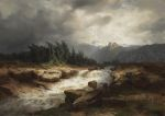 Calame, Alexandre Mountain Torrent Before a Storm, 1850 Art Reproductions