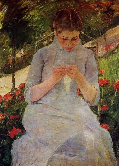 Young Woman Sewing in a Garden, 1886  Painting Reproductions