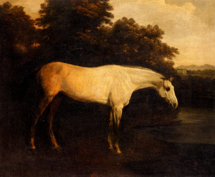 A Grey Hunter In A River Landscape  Painting Reproductions