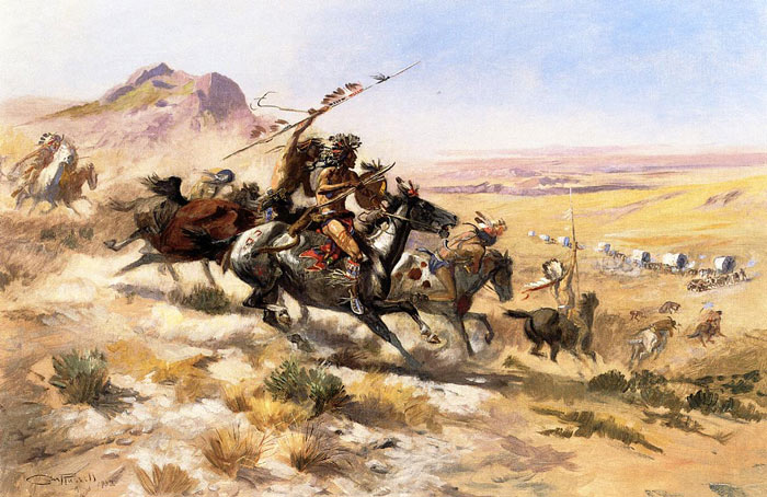 Attack on a Wagon Train, 1902  Painting Reproductions