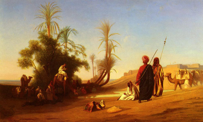 Halte A L'Oasis [Rest at the Oasis] Frere, Charles Theodore Painting Reproductions