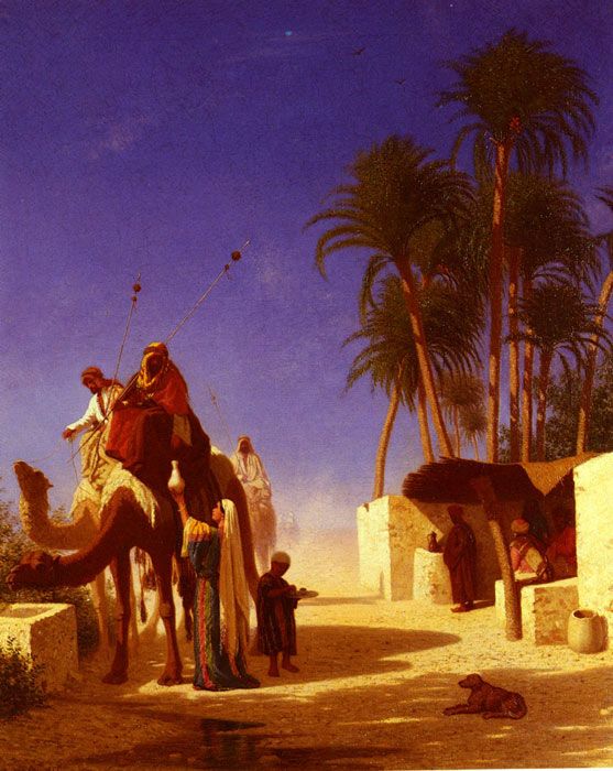 Les Chameliers Buvant Le The [Camel Drivers Drinking from the Wells], 1855  Painting Reproductions