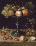 6604 Fruit on a Tazza with grapes, cherries & almonds on a stone ledge Art Reproductions
