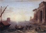5284 A Seaport at Sunrise, 1674 Art Reproductions