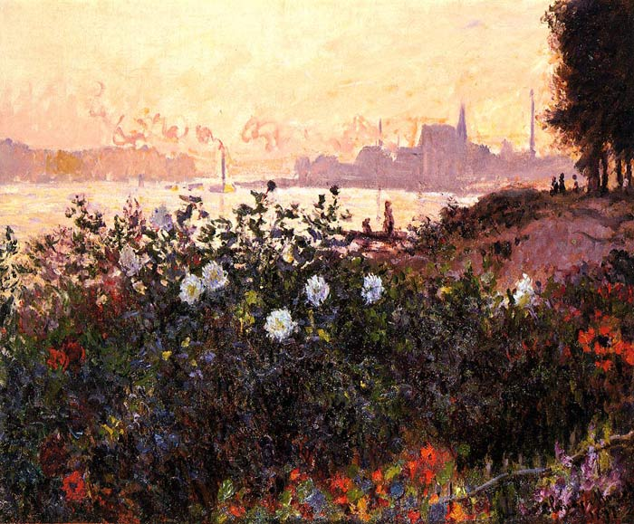 Argenteuil, Flowers by the Riverbank, 1877	 Monet, Claude Oscar Painting Reproductions