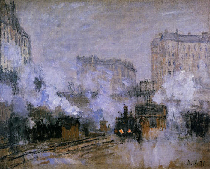 Exterior of the Saint-Lazare Station, Arrival of a Train , 1877	  Painting Reproductions