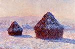 Monet, Claude Oscar Grainstacks in the Morning, Snow Effect, 1891	 Art Reproductions