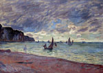 Monet, Claude Oscar Fishing Boats by the Beach and the Cliffs of Pourville, 1882	 Art Reproductions