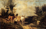 Troyon, Constant Returning From Pasture Art Reproductions