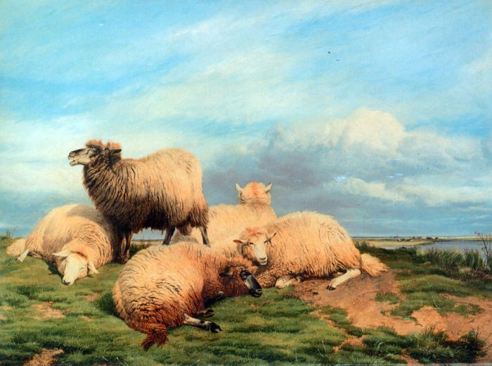 Landscape with Sheep, 1866  Painting Reproductions