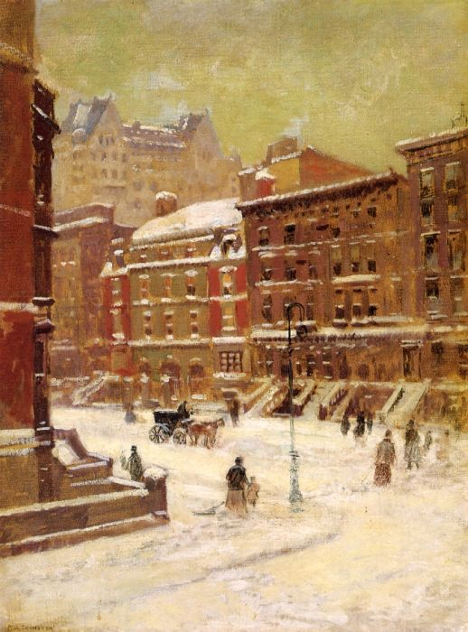New York City View in Winter  Painting Reproductions