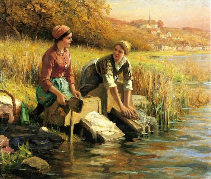 Women Washing Clothes by a Stream  Painting Reproductions
