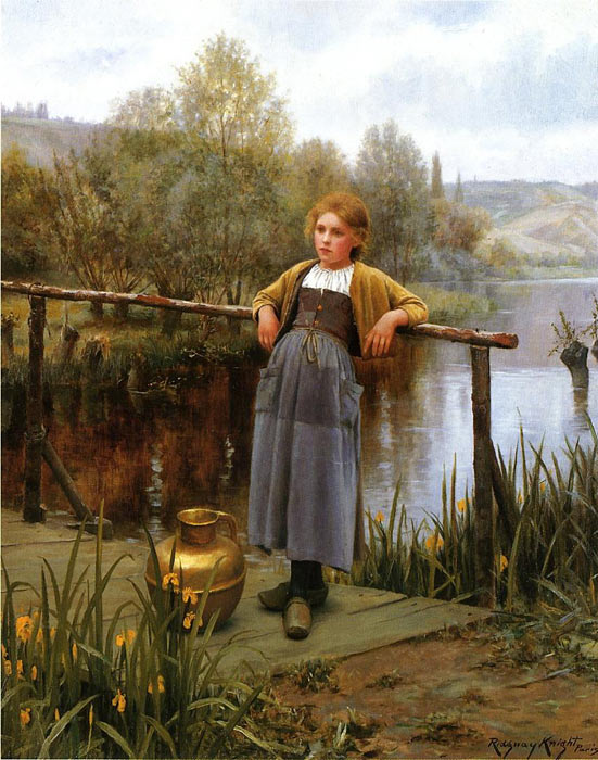 Young Girl by a Stream  Painting Reproductions
