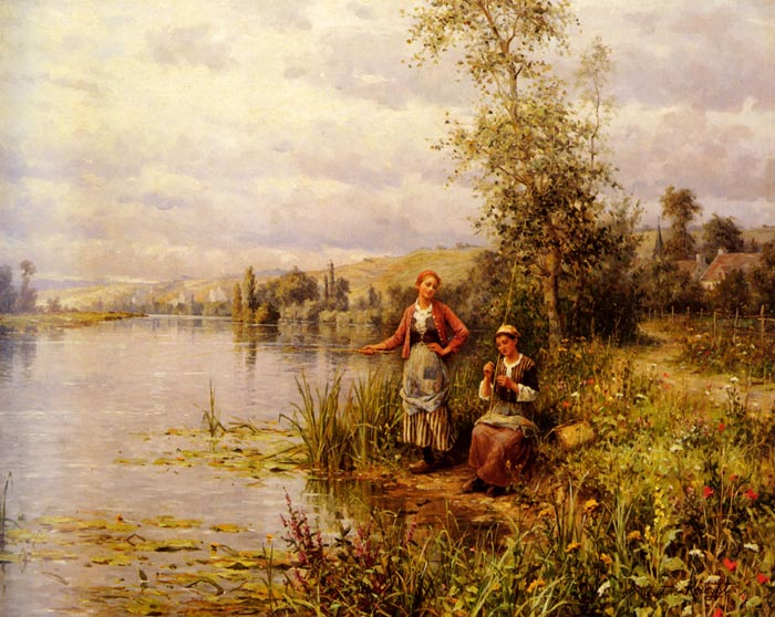 Country Women Fishing on a Summer Afternoon  Painting Reproductions