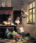 Noter, David Emile Joseph de A Maid In The Kitchen, 1861 Art Reproductions