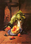 Noter, David Emile Joseph de A Still Life With A White Porcelain Pitcher, Fruit And Vegetables Art Reproductions