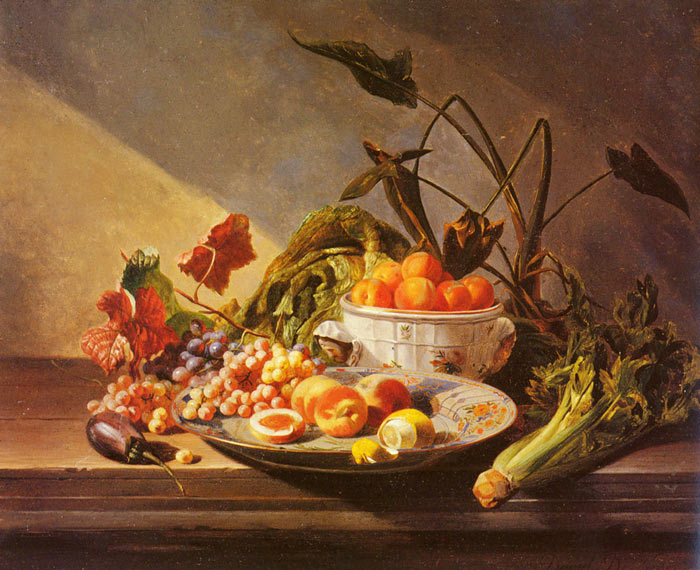 A Still Life With Fruit And Vegetables On A Table Noter, David Emile Joseph de Painting Reproductions
