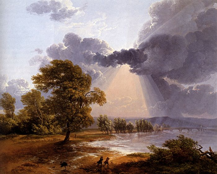 A River Landscape With An Approaching Storm, Figures Running In The Foreground, 1791  Painting Reproductions