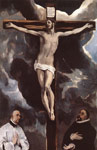 El Greco, -Domenikos Theotokopolos Christ on the Cross Adored by Donors , 1585-1590 Art Reproductions