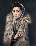 El Greco, -Domenikos Theotokopolos Lady with a Fur, 1577-1580 Art Reproductions