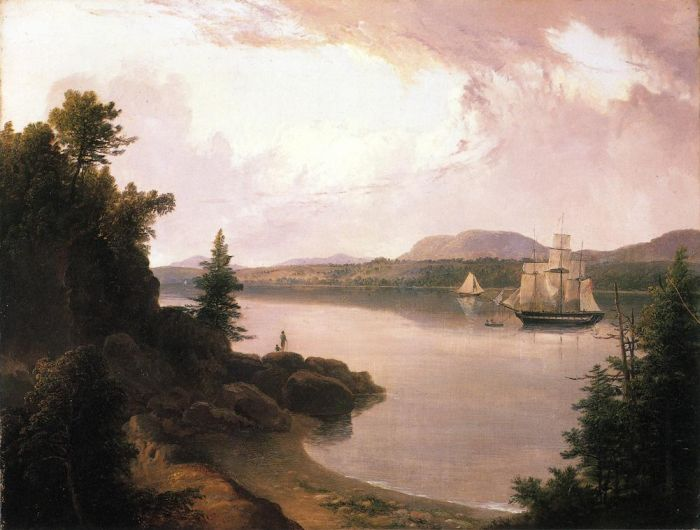 View on the St. Croix River near Robbinston , 1835  Painting Reproductions
