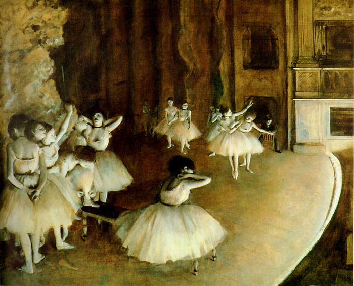 Ballet Rehearsal on Stage, 1874 Degas, Edgar Painting Reproductions