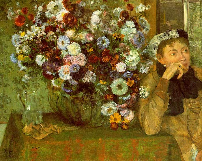 Madame Valpin with Chrysanthemums, 1865 Degas, Edgar Painting Reproductions