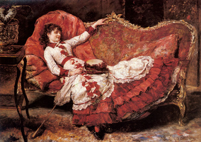An Elegnat Lady in a Red Dress  Painting Reproductions